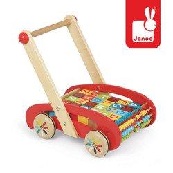Drewniany wózek chodzik z klockami abecadło duży, Janod