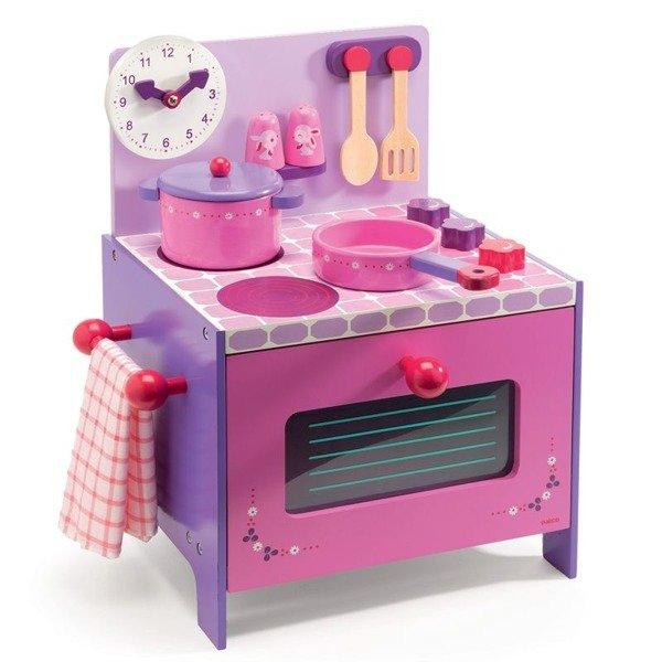 Drewniana kuchenka dla dzieci  kuchnia do zabawy z akcesoriami, DJECO Fiolet   -> Kuchnia Lidla Dla Dzieci