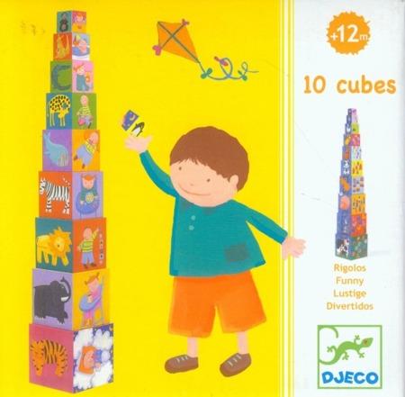 """Wieża z klocków - wysoka piramida """"Na farmie"""", zwierzęta - 10 klocków, DJECO"""