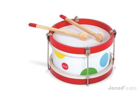 Bębenek drewniany Janod Confetti - drewniany instrument dla dzieci