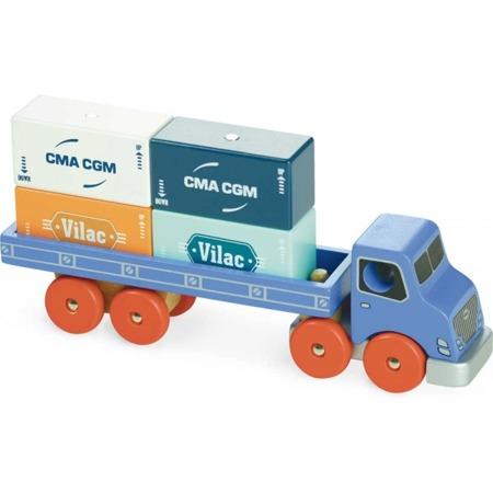 Drewniana ciężarówka do kontenerów z magnesami i z odpinaną przyczepą - VILAC