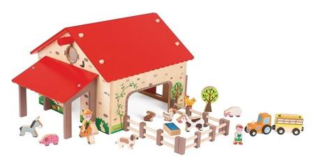"""Drewniana farma dla zwierząt - """"zwierzęta na wsi"""" zestaw z 19 akcesoriami, Janod J06483"""