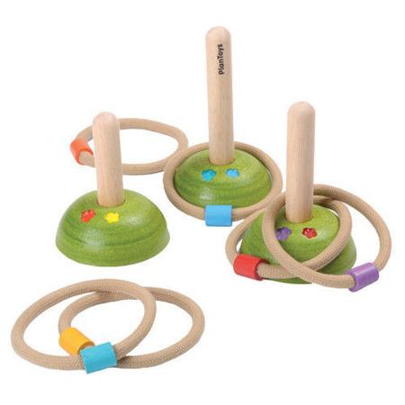 Drewniana gra zręcznościowa dla dzieci - rzucanie obręczy na patyki, Plan Toys PLTO-5652