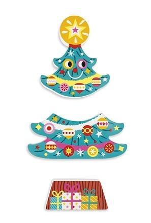 Drewniana magnetyczna układanka Święta Bożego Narodzenia - Mikołaj, bałwan i choinka, JANOD J08033