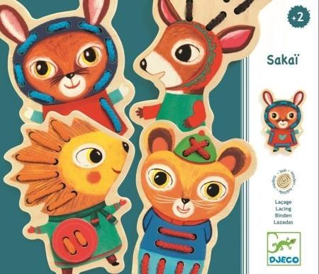 Drewniana nawlekanka - zwierzątka do nawlekania, przewlekania SAKAI, DJECO DJ01694
