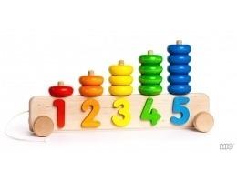 Drewniana piramida do liczenia, sorter na kołach - DUŻE liczydło dla dzieci, BAJO