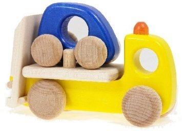 Drewniana pomoc drogowa z samochodem i lawetą - drewniane autka dla dzieci, BAJO