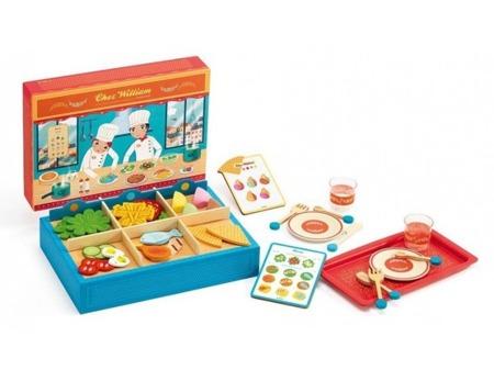 Drewniana restauracja dla dzieci + akcesoria spożywcze do zabawy, DJECO DJ06531