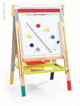 Drewniana tablica magnetyczna i kredowa 3w1 - duża tablica stojąca dla dzieci, Janod
