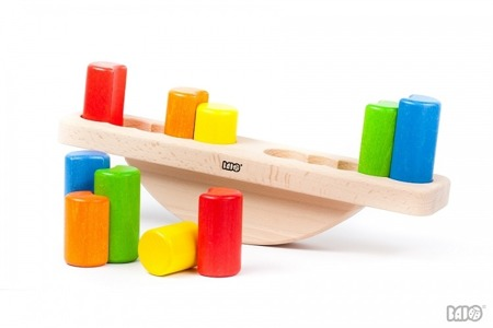 Drewniana waga z klockami DUŻA - równoważnia z klocków dla dzieci, BAJO