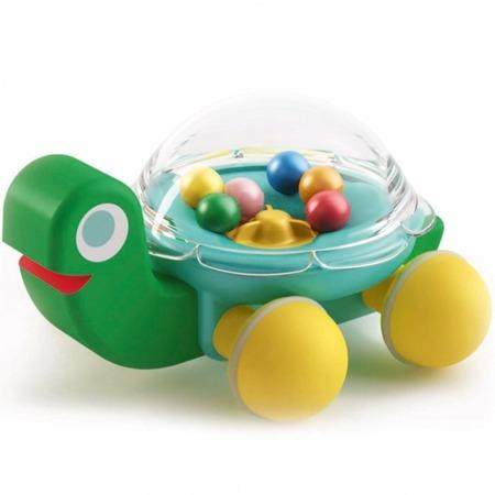 Drewniana zabawka do pchania - żółw z grzechoczącymi kulkami LOLA DJECO, DJ06373