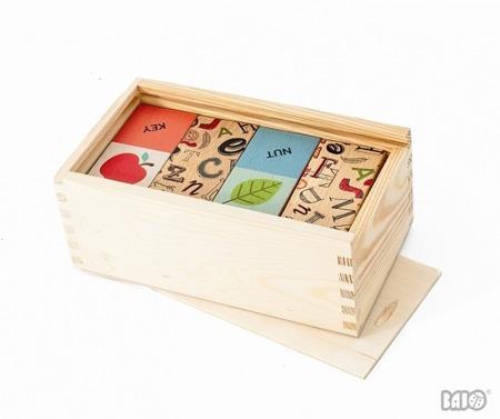 Drewniane domino dla dzieci - domino w wersji angielskiej, nauka słówek, BAJO
