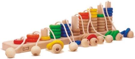 Drewniane liczydło na sznurkach - sorter ze sznurkami do nauki liczenia, BAJO