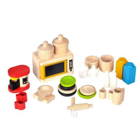 Drewniane mebelki dla lalek -  meble Dodatki i naczynia do kuchni, Plan Toys PLTO-9406