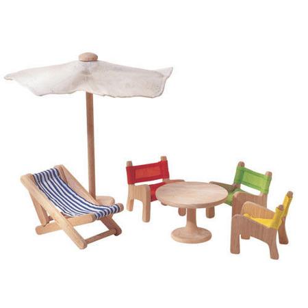 Drewniane mebelki dla lalek - meble ogrodowe do domku dla lalek, Plan Toys PLTO-7316