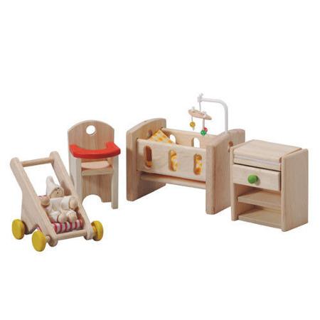 Drewniane mebelki dla lalek - meble pokój niemowlaka do domku dla lalek, Plan Toys PLTO-7329