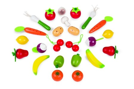 Drewniane owoce i warzywa w koszyku - 24 sztuki zestaw z koszykiem, Janod