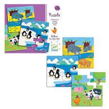 Drewniane puzzle sześcioelementowe - 3 obrazki w zestawie, Djeco