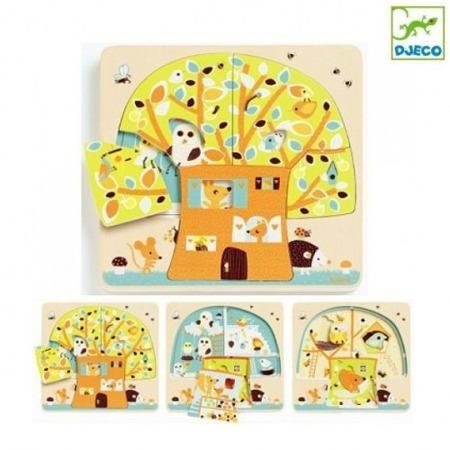 Drewniane puzzle warstowe dla najmłodszych 3 plansze Mieszkańcy drzewa - układanka z historyjką, DJECO