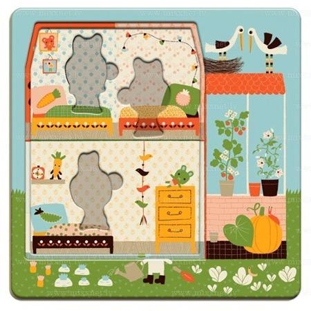 Drewniane puzzle warstwowe dla najmłodszych 3 plansze Króliczki - układanka z historyjką, DJECO