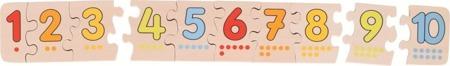 Drewniane puzzle z cyframi - nauka liczenia do dziesięciu, 10 el. + woreczek, GOKI WB013