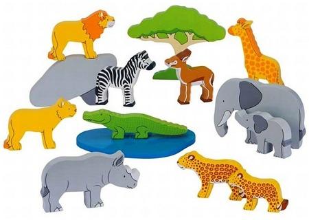 Drewniane zwierzęta - Safari, 14 zwierzątek GOKI