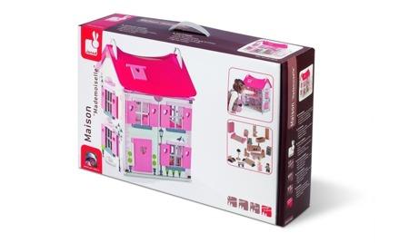 Drewniany domek dla lalek - umeblowany, duży, z dwoma lalkami w zestawie, Janod