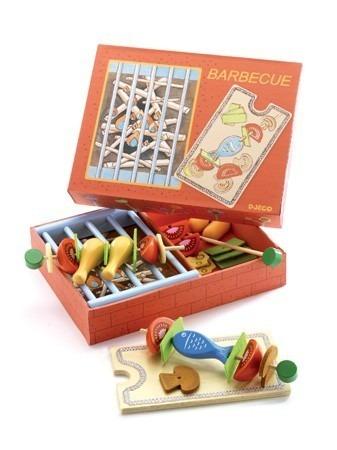 Drewniany grill dla dzieci - grill z szaszłykami i akcesoria do grilla, DJECO