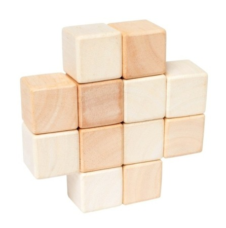 Drewniany gryzak Kostki - naturalne drewno, 0m+, Manhattan Toy