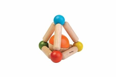 Drewniany gryzak ekologiczny - grzechotka dla niemowląt trójkąt z drewna Plan Toys, PLTO-5245