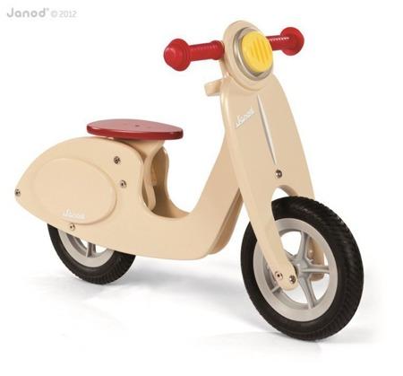 Drewniany rowerek biegowy waniliowy Scooter - rowerek dla dzieci, Janod