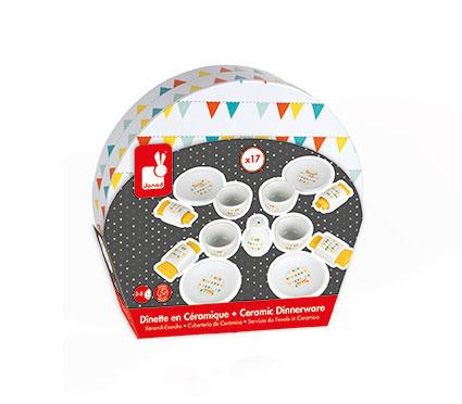 Drewniany serwis obiadowy dla dzieci 17 elementów Happy Day, JANOD J06591