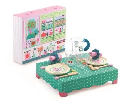 Drewniany stolik z zestawem obiadowym dla dzieci - własna restauracja DJECO DJ06617