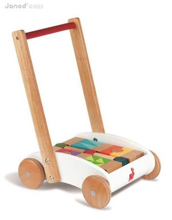 Drewniany wózek chodzik z klockami - duży pchacz dla dzieci, Janod