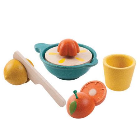 Drewniany zestaw do wyciskania owoców dla dzieci - wyciskarka do cytrusów Plan Toys, PLTO-3610