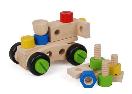Drewniany zestaw konstrukcyjny 30 części - zestaw dla małego majsterkowicza, Plan Toys