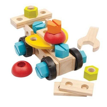 Drewniany zestaw konstrukcyjny 40 części - zestaw dla małego majsterkowicza, Plan Toys