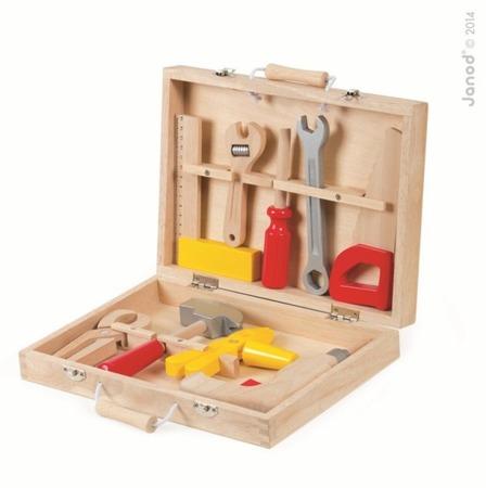 Drewniany zestaw narzędzi w walizce - walizeczka z narzędziami majsterkowicza Bricolo, Janod