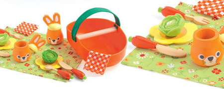 Drewniany zestaw piknikowy JOJO - zestaw na piknik, kosz piknikowy i akcesoria dla dzieci, DJECO