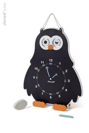 Edukacyjny, drewniany zegar dla dzieci Sowa, Janod - nauka godzin