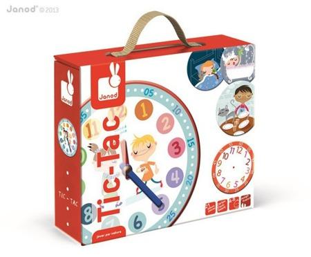 Edukacyjny, zegar dla dzieci Tic-Tac, Janod - nauka godzin