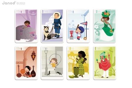 """Gra karciana dla dzieci 3 lata +, gra w karty """"Rodzinny Świat"""", Janod"""