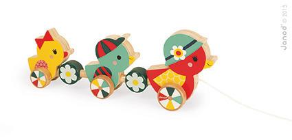 Kaczuszki drewniane do ciągnięcia na sznurku, kaczki Baby Forest - 12m+, Janod J08020