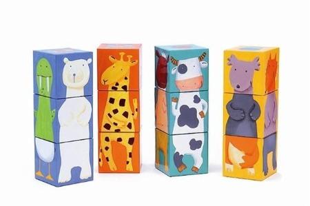 Klocki dla dzieci układanka - puzzle 3D kolorowe zwierzaki Djeco, DJ08208