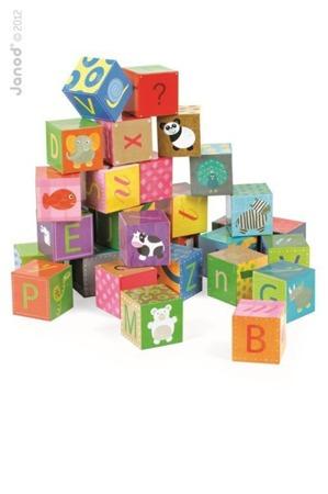 Klocki kartonowe puzzle 6w1 Alfabet, Janod - piękne klocki z literkami dla dzieci