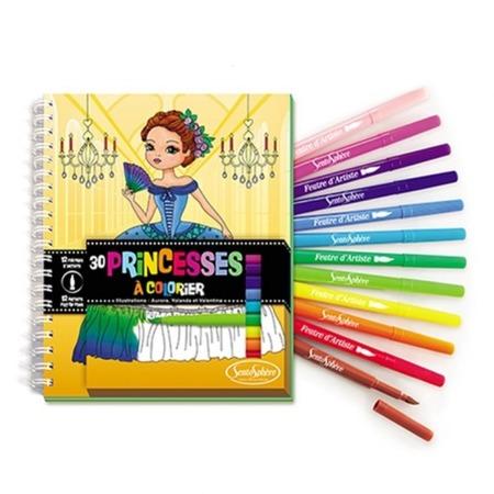 Kolorowanki księżniczki - zestaw 30 kolorowanek + 12 flamastrów z pędzelkiem, SENTOSPHERE