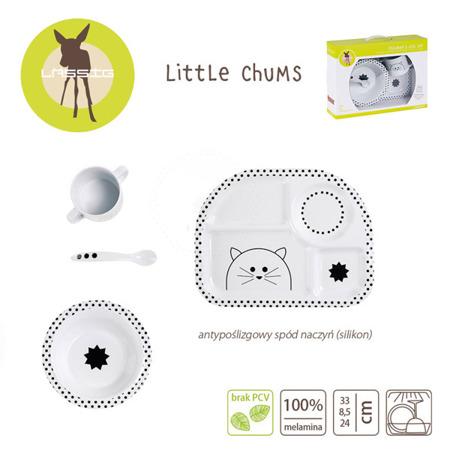 Komplet naczyń dla dzieci z melaminy Little Chums Kot - 4 el., Lassig