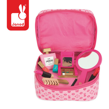 Kosmetyczka z akcesoriami małej Miss - kosmetyczka z drewnianymi akcesoriami, Janod J06514