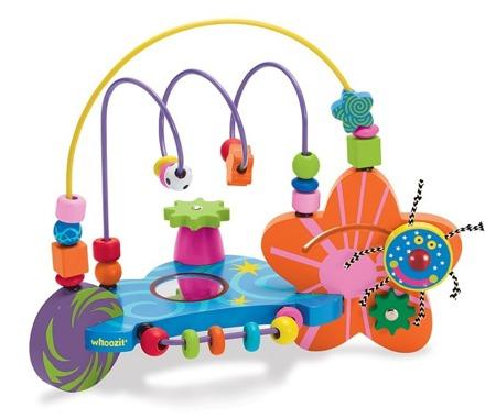 Kosmiczny labirynt Whoozit - drewniany stolik edukacyjny dla niemowląt,pętle motoryczne, Manhattan Toy