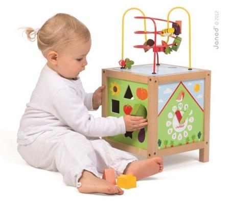 Kostka edukacyjna dla dzieci duża - sorter, zegar, labirynt, przekładanka, Janod